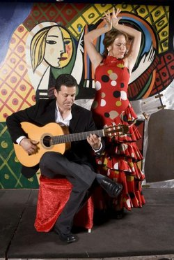 Promotional image of live Flamenco Dinner Shows at Cafe Sevilla.