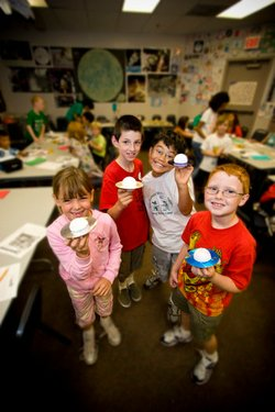 Image of children attending the Family Science Saturdays at the Reuben H. Fleet Science Center.
