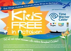 Promotional graphic of the Kids Free Entry In October coupon from October 1 – 31, 2013. Courtesy image of San Diego Museum Council.