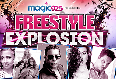 Promotional image for the Magic 92.5 Art Laboe & Freestlye Explosion concert.
