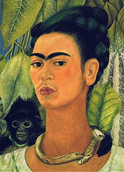 Image of a painted portrait of Frida Kahlo. The exhibit h...
