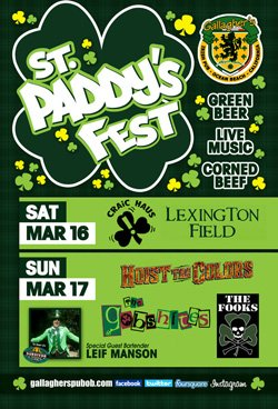 Promotional flyer for St. Paddy's Fest at Gallagher's Irish Pub on March 16 & 17th, 2013