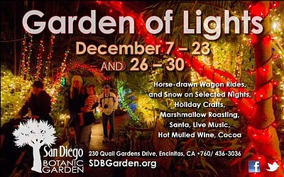 Promotional graphic for the 2013 Garden of Lights. Courtesy of San Diego Botanic Garden.