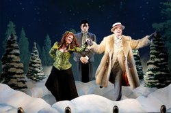 """(from left) Heather Ayers as Miss Evangeline Barley, Ken Barnett as Monty Navarro and Jefferson Mays as Asquith D'Ysquith Jr. in the world premiere of """"A Gentleman's Guide to Love and Murder,"""" with book by Robert L. Freedman, music by Steven Lutvak, lyrics by Freedman and Lutvak, based on the novel Israel Rank by Roy Horniman and directed by Darko Tresnjak, March 8 - April 14, 2013 at The Old Globe. Photo by Joan Marcus."""