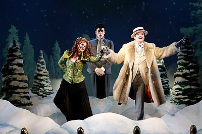 "(from left) Heather Ayers as Miss Evangeline Barley, Ken Barnett as Monty Navarro and Jefferson Mays as Asquith D'Ysquith Jr. in the world premiere of ""A Gentleman's Guide to Love and Murder,"" with book by Robert L. Freedman, music by Steven Lutvak, lyrics by Freedman and Lutvak, based on the novel Israel Rank by Roy Horniman and directed by Darko Tresnjak, March 8 - April 14, 2013 at The Old Globe. Photo by Joan Marcus."