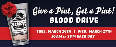 "Promotional graphic for the ""Give A Pint, Get A Pint"" Blood Drive at Stone Brewing Co."