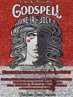 """Promotional image for the musical """"Godspell"""", which will be performed at the Ocean Beach Playhouse & Arts Center."""