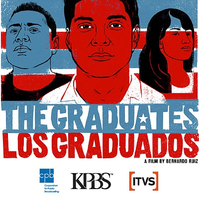 "Promotional grahic for the West Coast premier of ""The Graduates"" and ""¡Vamos a Lograrlo!"" shorts, presented by KPBS and ITVS."
