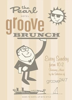 Promotional flyer for Groove 24/7 Brunch.