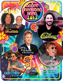 Photo of The Happy Together Tour, who will be performing at the 2013 San Diego County Fair on July 4th, 2013. Courtesy of the Del Mar Fairgrounds.