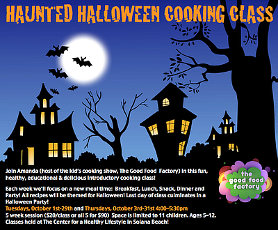 Promotional graphic for the Haunted Halloween Cooking For Kids at The Center for a Healthy Lifestyle.