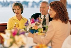 Graphic image of people enjoying Hornblower San Diego Thanksgiving Dinner Cruise. Courtesy of Hornblower Cruises & Events San Diego.