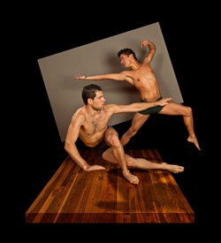 """Image of David Wornovitzky and Marty Anthony Dorado. See them on stage at Diversionary Cabaret for """"Hot Guys Dancing"""". Photo © Raymond Elstad"""