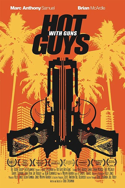 "Promotional graphic for FilmOut San Diego's ""Hot Guys With Guns"" performing on September 14th, 2013. Courtesy of FilmOut San Diego."