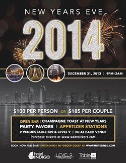 Promotional flyer for Hotel Indigo NYE 2014. Courtesy of Hotel Indigo.