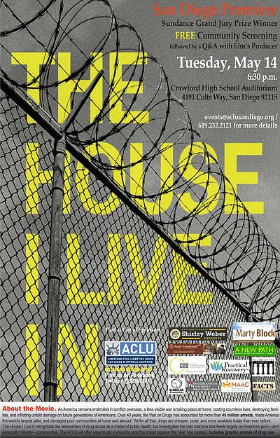 "Promotional graphic for the documentary film ""The House I live In."" Courtesy of ACLU of San Diego & Imperial Counties"