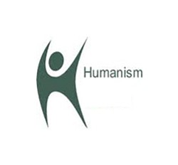 "Promotional graphic reading ""Humanism,"" for the First Unitarian Universalist Church of San Diego's Humanist Discussion Group."