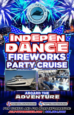 Promotional graphic of IndepenDANCE Fireworks Party Cruise on July 4th. Courtesy graphic of Adventure Hornblower.
