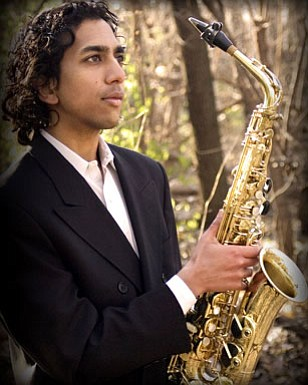 Image of Ashu, who will be performing the Saxophone at the Intimate Classics presented by the California Center for the Arts: Escondido.