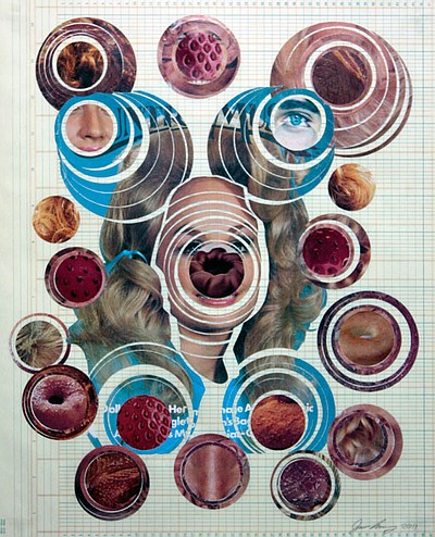 Image of Jason Shelly's artwrrk, Dollyversal Constant, 2011. Collage On Ledger Paper.