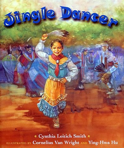"Promotional graphic for the 2013 One Book, One San Diego children's book selection, ,""Jingle Dancer"" by Cynthia Leitich Smith."