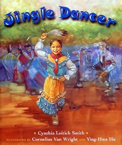"Promotional graphic for the 2013 One Book, One San Diego children's book selection,  ""Jingle Dancer"" by Cynthia Leitich Smith."