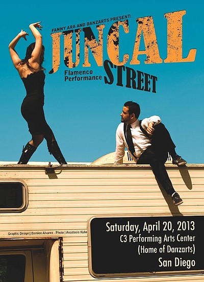 "Promotional graphic for ""Juncal Street"" - Flamenco Show presented by Fanny Ara & Danzarts on April 20th, 2013."