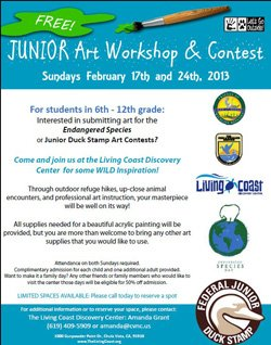 Promotional flyer for Junior Art Workshop & Contest on February 17th & 24th, from 10am - 2pm