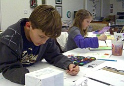 Promotional image of kids ages 6-11 participating in an art project at Bravo School of Art.