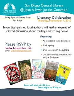 Promotional flyer for Literacy Celebration: Seven Local Authors Discuss Their Craft on November 7, 2013.