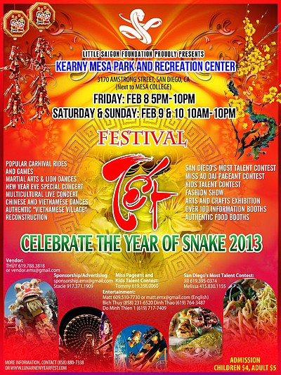 Promotional graphic for the Lunar New Year Festival, February 8-10, 2013 at Kearny Mesa Park and Recreation, located at 3170 Armstrong Street, San Diego.