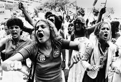 Equal Rights Amendment supporters voice their disapproval of the 22-16 vote against the E.R.A. in the Florida Senate, June 21, 1982. Courtesy of AP Photo