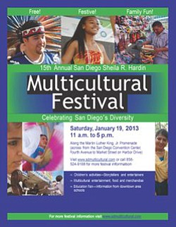 Promotional graphic for the 15th Annual San Diego Sheila Hardin Multi-Cultural Festival on January 19th, 2013.