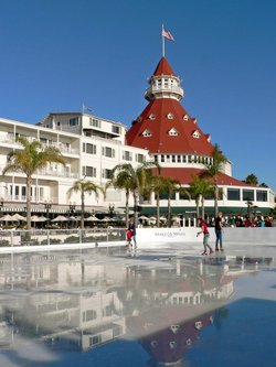 """Promotional graphic for """"So You Wish You Can Skate"""" at the Hotel Del Coronado."""