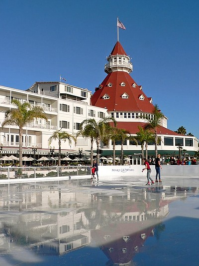 "Promotional graphic for ""So You Wish You Can Skate"" at the Hotel Del Coronado."