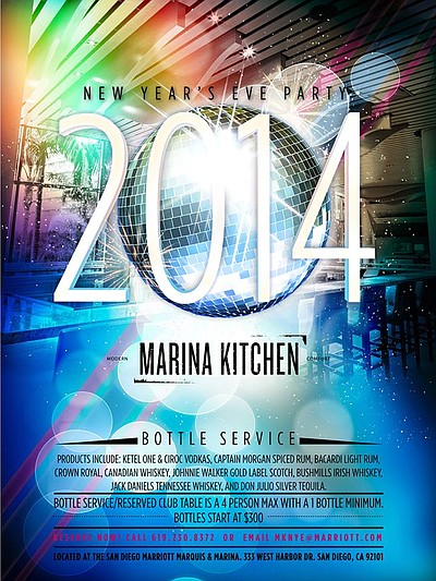 Promotional graphic for the New Year's Eve Party at Marina Kitchen.