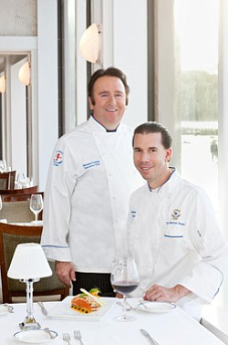 Promotional image of Marine Room Chefs, Executive Chef Bernard Guillas and Chef de Cuisine Ron Oliver. Courtesy image of The Marine Room.