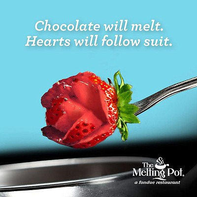 "Promotional graphic for Valentine's Day at The Melting Pot (San Diego Gaslamp Location): ""Chocolate will melt. Hearts will follow suit."" Courtesy of The Melting Pot, a fondue restaurant."