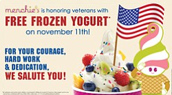 Promotional graphic for Free Menchie's Yogurt For Veterans Day on November 11, 2013.
