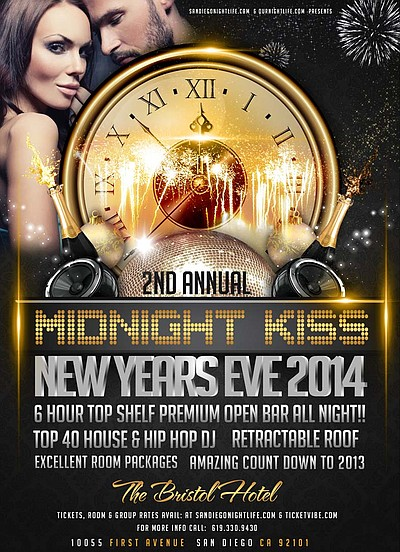 Promotional graphic for the Midnight Kiss New Year's Eve 2014 At The Bristol Hotel from 8pm-2am.