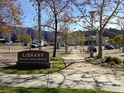 Exterior photo of the Mission Valley Branch Library.