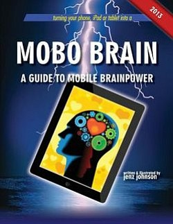"Graphic cover of the book ""Mobo Brain"" by Jenz Johnson."