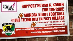 Promotional image for Monday Night Football At The Tilted Kilt on September 30th and October 14th. Courtesy image of Susan G Komen.