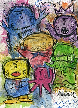 "Promotional image for ""Monstro and the Kelp Kids"" New Works by Monstrinho at Thumbprint Gallery from May 11 to June 2, 2013."