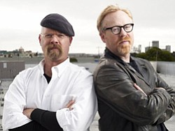 Promotional image of Jamie Hyneman and Adam Savage, hosts of MYTHBUSTERS, in San Francisco, CA. Courtesy image of MYTHBUSTERS.