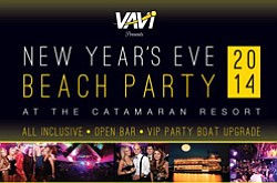 Promotional graphic for New Years Eve 2014 Beach Party at Catamaran Resort Hotel. Courtesy of Catamaran Resort Hotel.