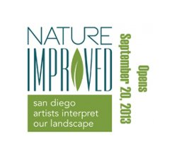 "Promotional graphic for ""Nature Improved: San Diego Artists Interpret Our Landscape,"" presented by San Diego History Center and the Oceanside Museum of Art"