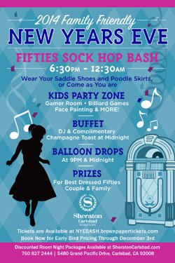 Graphic logo for the Sheraton Carlsbad's Family Friendly New Year's Eve 50's Sock Hop on December 31st, 2013.