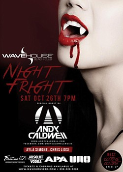 Promotional graphic for Night Fright at WaveHouse Beach C...