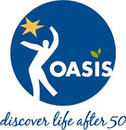 """Graphic logo for Oasis coming to the College Avenue Center, """"Discover Life After 50""""."""